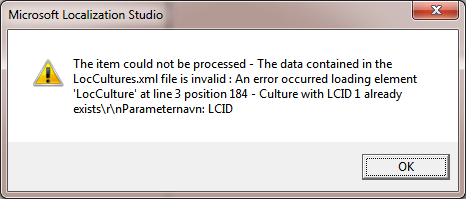 LocCulture error in LocStudio